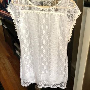 Tops - White lace cap sleeve top/ 3 for 25.00